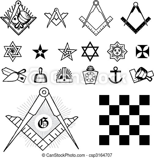 Set Of Symbol Freemason Masonic Mason Vector Illustration Vectors