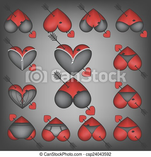 Set Of Symbols Heart With Lingerie Vector