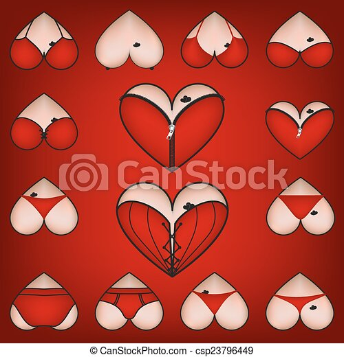 Set Of Symbols Heart With Lingerie Vector Eps Vector Search Clip