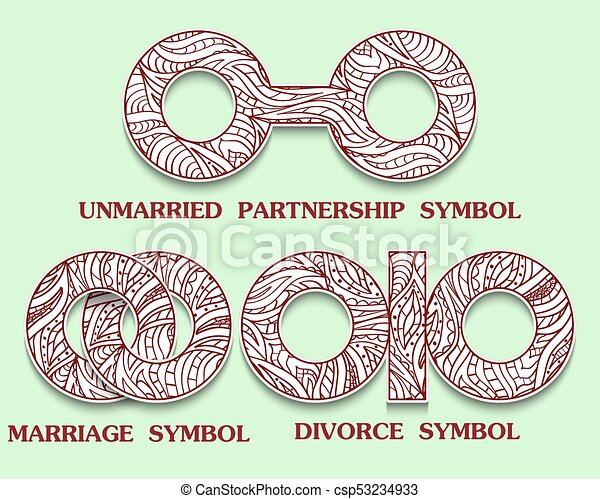 Set Of Symbols Of Partnership Unmarried Divorce And Marriage Sign