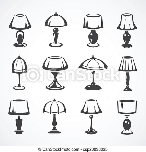 Set of table lamps vintage table lamp line illustration set set of table lamps csp20838835 mozeypictures Image collections