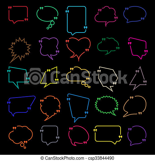 Set of Talk and think information comics bubbles silhouettes for communication. - csp33844490