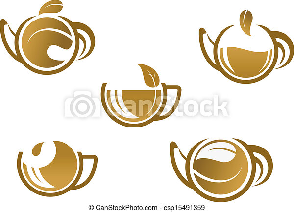 Set Of Tea Icons And Symbols For Fast Food Or Cafe Design