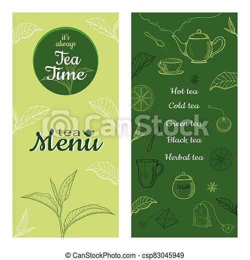 Set of tea vintage banners. Hand drawn sketch illustrations. - csp83045949