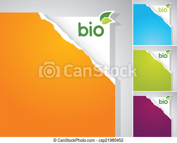 Set of teared papers with bio sign. - csp21980452