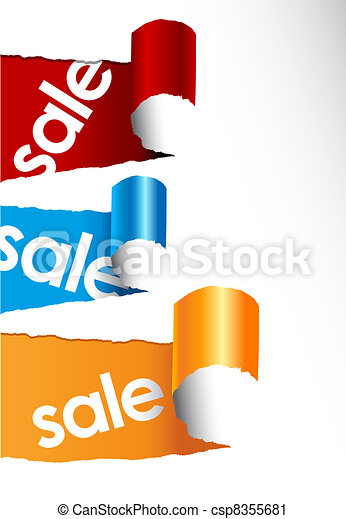 Set of teared papers with sale signs. - csp8355681
