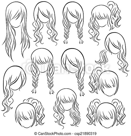Set Of Teenage Girl Hairstyles Hand Drawing Vector Contour