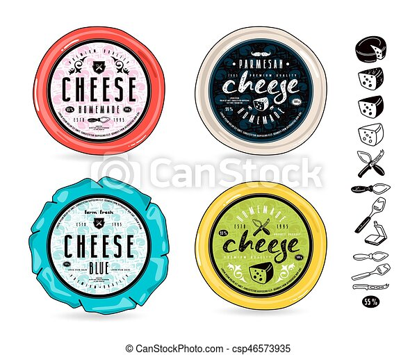 Set Of Template Labels For Cheese And Design Elements Round Labels
