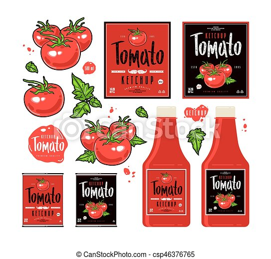 set of template labels for tomato ketchup illustration of juicy