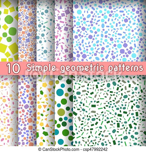 Set Of Ten Simple Geometric Patterns From Shapes Figures, Vector