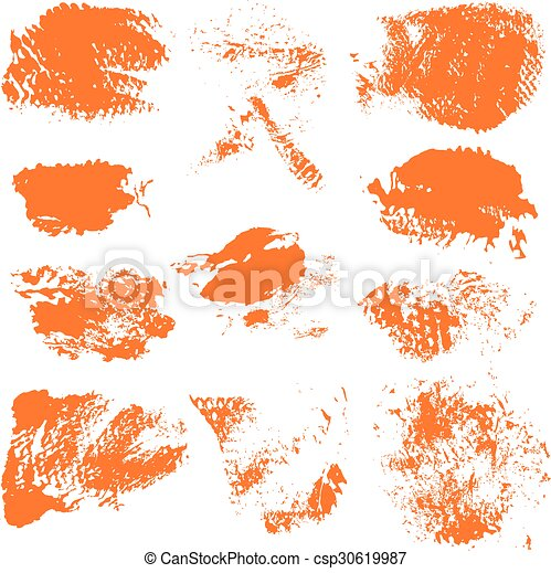set of textured dry brush strokes of orange paint on white background 1