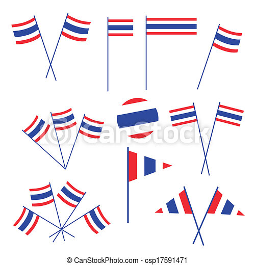Set of Thai Flag on White Background - csp17591471