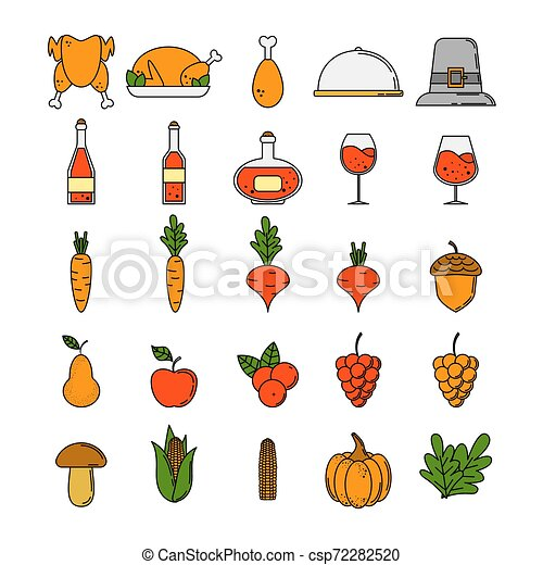 Set of thanksgiving icons in cartoon style. - csp72282520