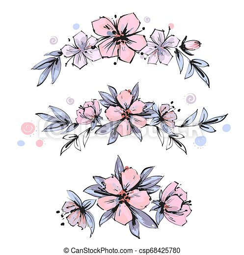 Set of the floral arrangements. Pink apple tree flowers with leaves. Vector romantic garden flowers. - csp68425780