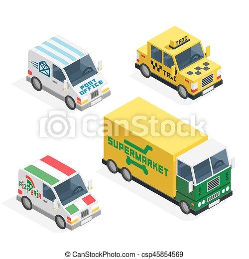 Set of the isometric cars - csp45854569