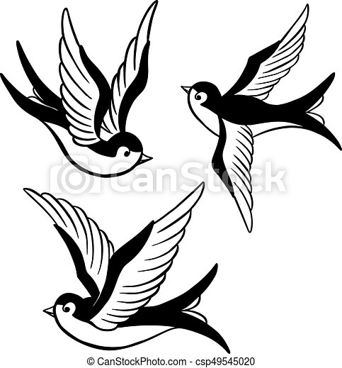 Set Of The Swallow Icons Design Elements For Poster T Shirt Vector
