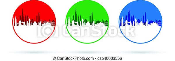 set of three cityscapes - csp48083556