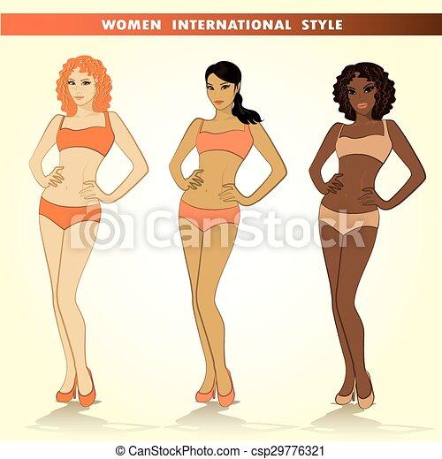 Set of three fashion girls, vector illustrations. - csp29776321