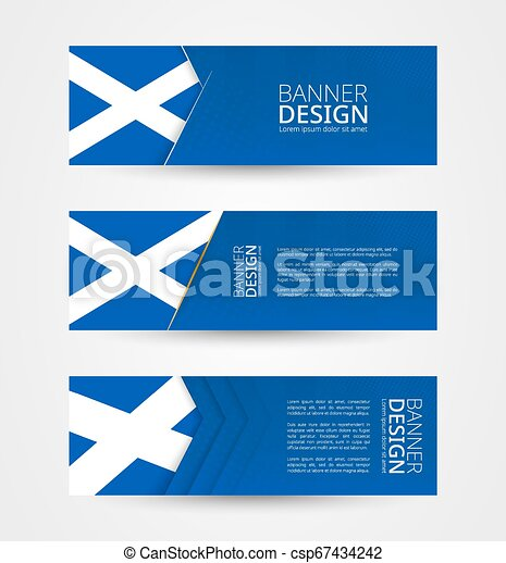 Set of three horizontal banners with flag of Scotland. Web banner design template in color of Scotland flag. - csp67434242