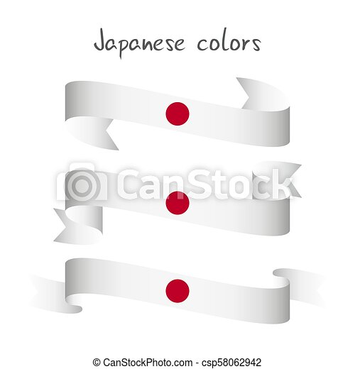 Set of three modern colored vector ribbon with the Japanese colors isolated on white background, abstract Japanese flag, Made in Japan logo - csp58062942