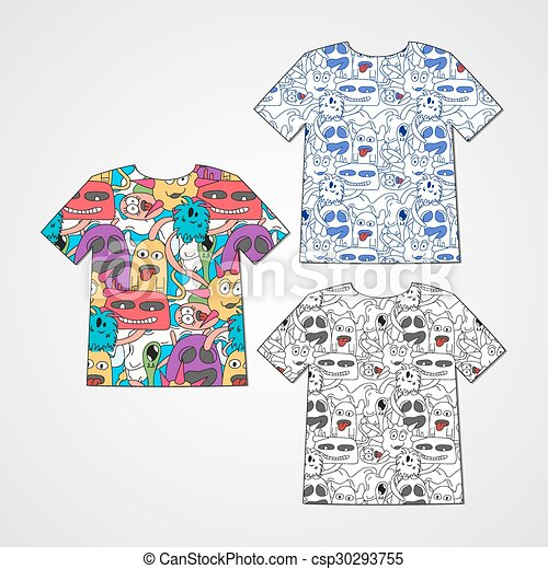Set of three t-shirts with abstract funny monsters. - csp30293755