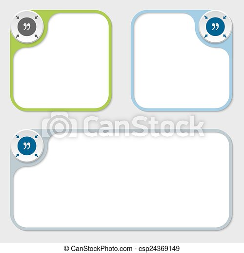Set of three vector frames and quotation mark.