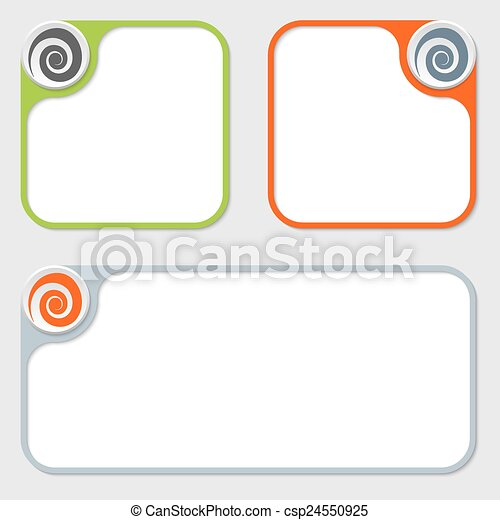 Set of three vector frames and spiral.