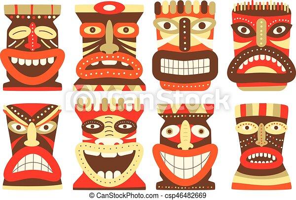 set of tiki tribal mask collection of tiki tribal mask set for