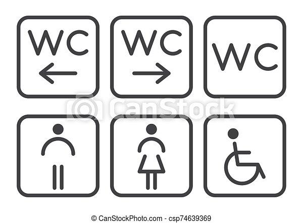 Set of toilet icons - disabled, infant, men, women. - csp74639369