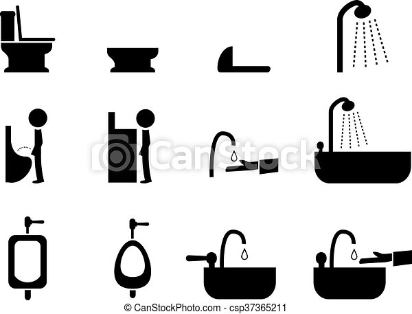 Set of toilet icons in silhouette style, vector - csp37365211