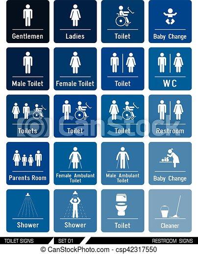 . Set of toilet signs  Toilet labels
