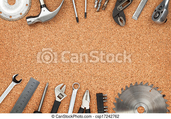 Set of tools on cork background - csp17242762