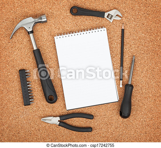 Set of tools on cork background - csp17242755