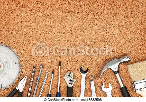 Set of tools on cork background - csp18582598