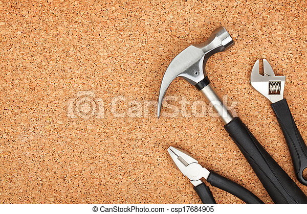 Set of tools on cork background - csp17684905