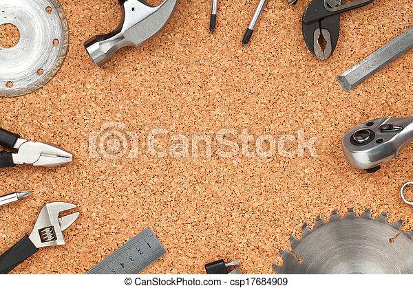 Set of tools on cork background - csp17684909