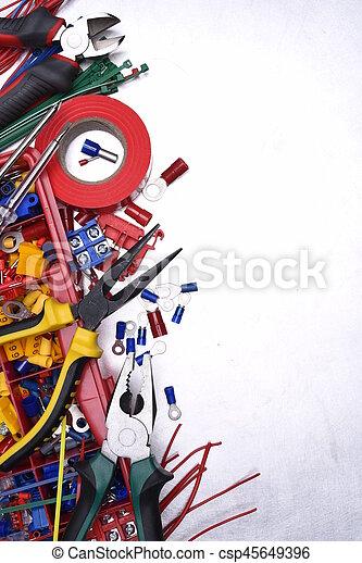 Set of tools on metal background - csp45649396