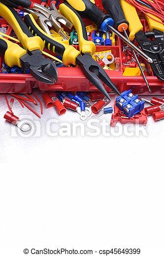 Set of tools on metal background - csp45649399