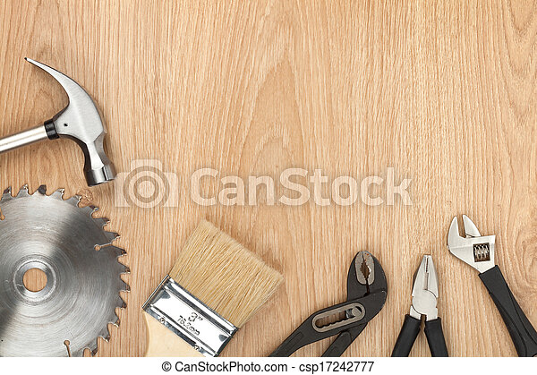 Set of tools on wood background - csp17242777