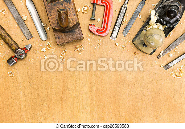 Set of tools on wood background - csp26593583