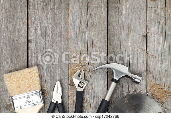 Set of tools on wood background - csp17242766