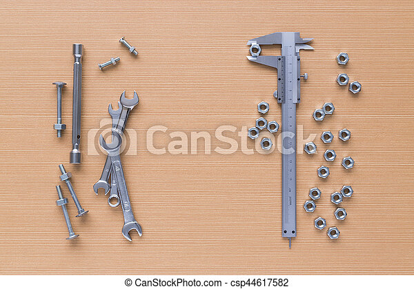 Set of tools on wooden background - csp44617582