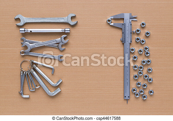 Set of tools on wooden background - csp44617588