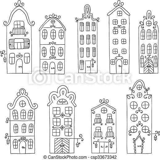 Set of town building. City streets. - csp33673342