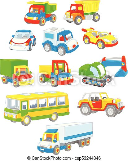 Set Of Toy Cars Trucks And Buses Vector Illustrations Of Several