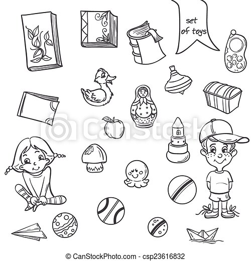 set of toys books for boys and girls in the loop on a white background