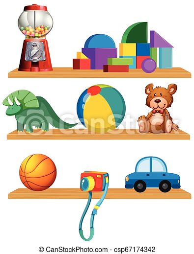 Set of toys in the shelf - csp67174342