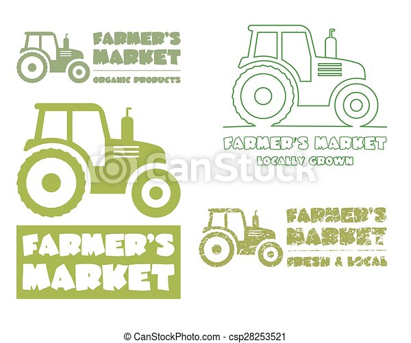 set of tractor logo design template harvest or farm icon thin line