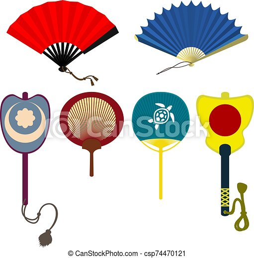 Set of traditional asian folding and rigid fans - csp74470121