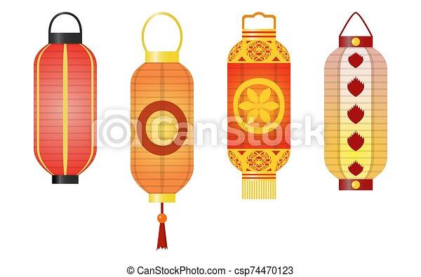 Set of traditional asian paper lanterns. - csp74470123